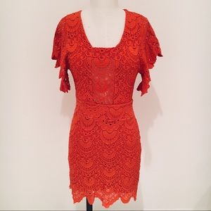 Night Cap Spanish Lace Flutter Dress